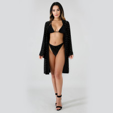 Sexy Sequined 3pcs Swimsuit Bikinis Sets+Long Cloak TE-4037