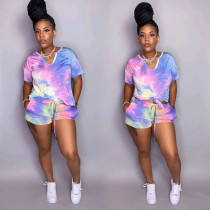 Tie dye V-neck Casual Fashion Short Sleeve Shorts Suit OSM-4204