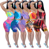 Tie-dye Sleeveless Top Shorts Two Piece Set (including mask) LX-2076