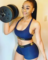 Casual Letter Patchwork Fitness Two Piece Shorts Set OD-8377