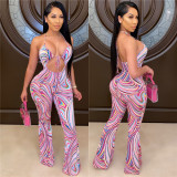 Sexy Tie Dye Halter Backless Strappy Flared Jumpsuit LSL-6346