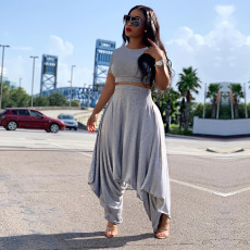 Solid Short Sleeve Harem Pants Two Piece Suits TE-4057