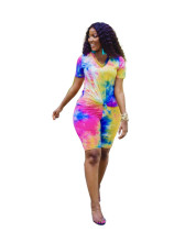 Tie-dye V-neck Casual Fashion Shorts Two Piece Set OSM-4203