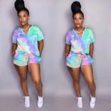 Tie dye V-neck Casual Fashion Short Sleeve Shorts Suit OSM-4204