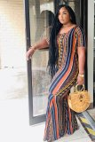 Casual Bohemia Stripe Print Short Sleeve Jumpsuits YS-8688
