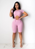 Solid Short Sleeve Sexy Hollow One Piece Rompers TR-1051