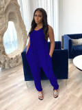 Solid Sleeveless Casual Loose Jumpsuits WZ-8291
