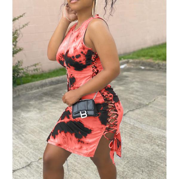 Sexy Tie Dye Print Lace Up Sleeveless Dress HHF-9021