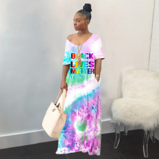 Plus Size Color Tie-dye Fashion Casual Gradient Letter Printed Loose Dress WAF-7024