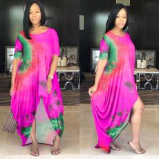 Plus Size Color Tie-dye Fashion Short Sleeve Loose Dress WAF-7022