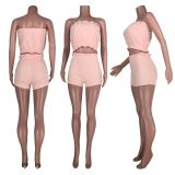 Solid Tube Tops And Shorts Two Piece Sets HHF-9029
