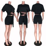Solid Crop Top Biker Shorts Two Piece Suits HHF-9015