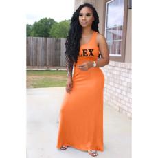 Letter Print Sleeveless Big Swing Maxi Dress HHF-9013