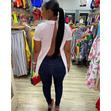 Solid Backless O Neck Short Sleeve Tops HHF-9027