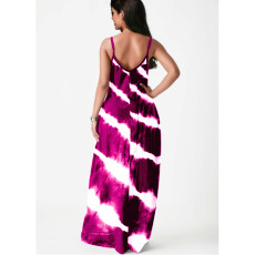 Plus Size 5XL Tie Dye Print Sleeveless Maxi Slip Dress YFS-3523