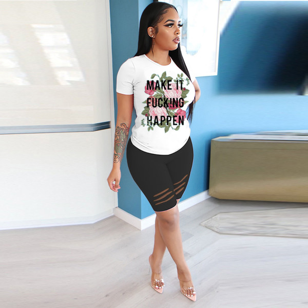 Casual Printed T Shirt Hole Shorts Two Piece Sets BLI-2089