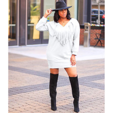 Solid Long Sleeve Tassel Loose Sweatshirt Dress YFS-3524