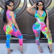 Plus Size Tie Dye Print Backless Hollow Jumpsuits BLI-2077