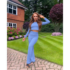 Solid Long Sleeve Two Piece Pants Set HHF-9032