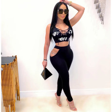 Letter Print Sleeveless Hollow Out Two Piece Pants Set HHF-9018