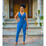 Sexy Backless Sleeveless Solid Rib Knitted Jumpsuits HHF-9022