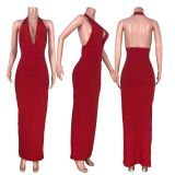 Sexy Deep V Neck Halter Backless Slim Maxi Dress HHF-9023