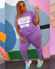 Fashion Letter Printed Solid Color T-shirt Pants Plus Size 5XL Casual Suit WAF-7025