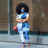 Fashion Plus Size 5XL Tie-dye Jumpsuit Without Mask WAF-7026