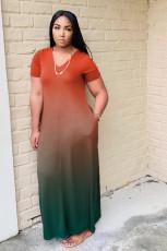 Gradient Short Sleeve Fashion Cloose Maxi Dress WAF-7028