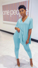 Solid Loose V Neck T Shirt Long Pants Two Piece Suits SHD-9292