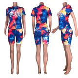 Tie Dye Letter Print Two Piece Shorts Set Without Mask HHF-9020