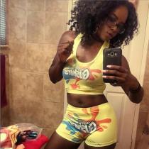 Sexy Printed Tank Top Shorts Yoga Two Piece Sets SHD-9293