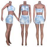 Tie Dye Halter Crop Top And Shorts Sexy 2 Piece Sets HHF-9028
