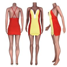 Sexy Backless Cross Strap Mini Dress HHF-9030
