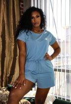 Solid Short Sleeve Drawstring Rompers HHF-9006