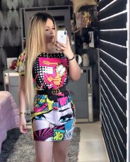 Cartoon Print Short Sleeve O Neck Mini Dress HHF-9009