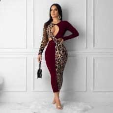 Plus Size Leopard Print Patchwork Cut Out Slim Maxi Dresses YNB-7043-1