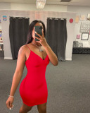 Solid Color Sexy Spaghetti Strap Backless Club Party Dress YH-5165