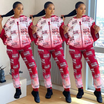 Fashion Gradient  Pullover Hoodie Pants Two Piece Set OJS-9221