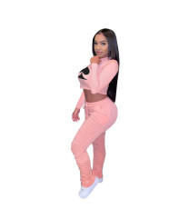 Poker Print Fashion Casual Tracksuit Long Sleeve Crop Top Stacked Pants Suit MDF-5152