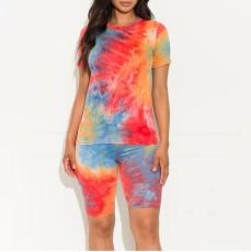 Plus Size Tie Dye Print Two Piece Shorts Set GS-1838