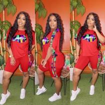 Plus Size Fashion Casual Sports Lips T-shirt Shorts Two Piece Set RSN-764