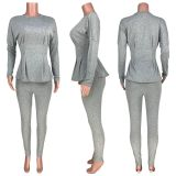 Solid Long Sleeve Waist Tops Long Pants 2 Piece Sets CH-8126