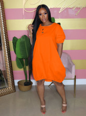 New Summer Fashion Clothes Bubble Sleeve Pullover Lantern Dress AIL-107