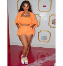 Orange Hooded Zipper Coat+Cami Top+Shorts 3 Piece Sets GS-1850