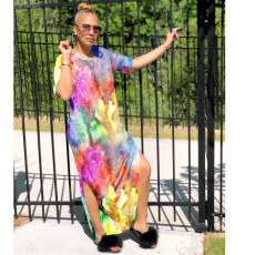 Casual Tie Dye Print O Neck Split Maxi Dress OLF-912
