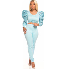 Plus Size Sexy Solid Color Party Bubble Sleeve Top Pants Set CQ-036