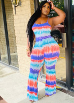 Tie Dye Print Strappy Backless Jumpsuits QZX-6140