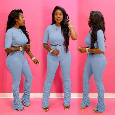 Solid Half Sleeve Tops Stacked Pants Two Piece Sets QY-5193