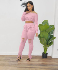 Sexy Long Sleeve Slash Neck Hole Pants 2 Piece Sets OLF-8856